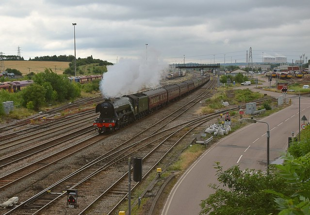 LNER Interloper on the Midland Main Line - steam  loco Flying Scotsman, on a Kings Cross - York excursion, travelling through Toton, on the Erewash Valley Line. 01 07 2017