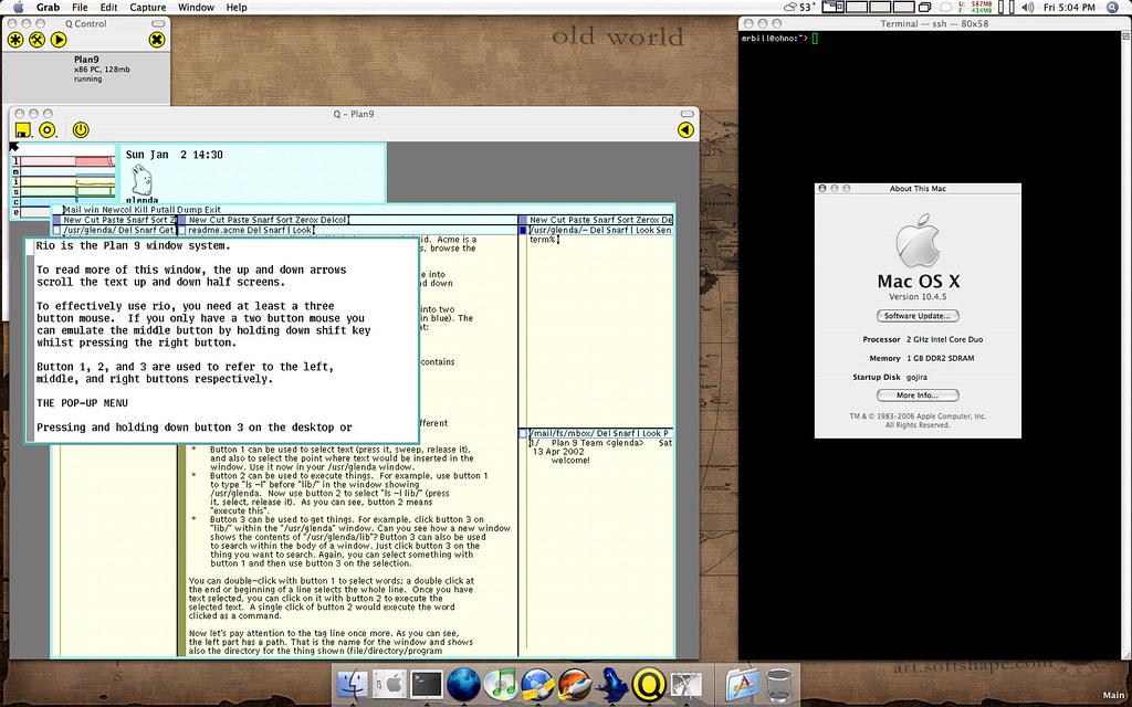 Plan9 running under Qemu on OSX/Intel | Bill Bradford | Flickr