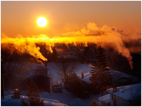 from morning winter red chimney orange sunrise fire balcony smoke barrie