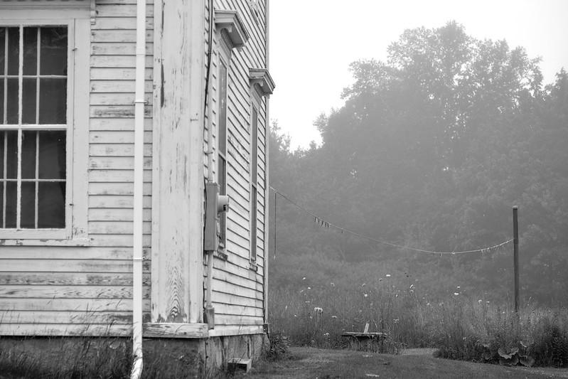abandoned homestead, clothesline, clothespins,fog, evening, route 131 south, Saint George, Maine, Nikon D3300, mamiya sekkor 80mm f-2.8, 7.16.17