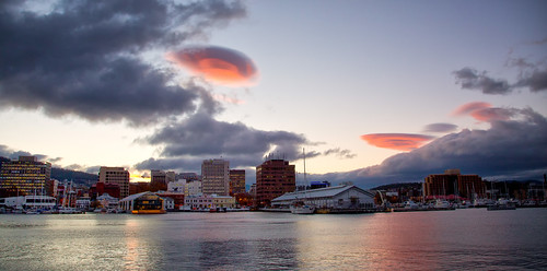 hobart city clouds pink water waterfront evening sky tasmania