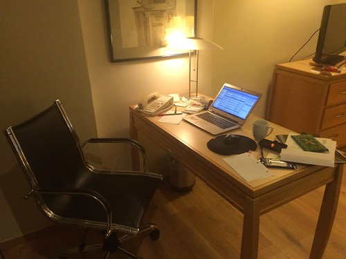 Writing while at a hotel desk
