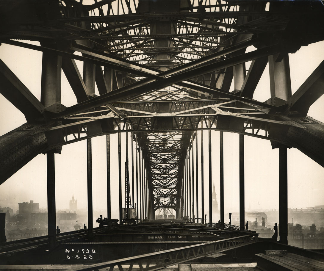 View along the Tyne Bridge during its construction
