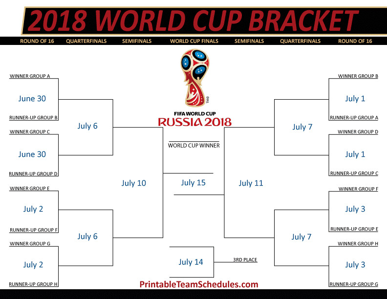 image regarding World Cup Bracket Printable named 2018 FIFA Environment Cup Bracket Printable 2018 FIFA World-wide Cup