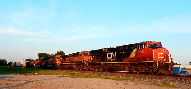 Westbound CN leading three BNSF at Kendallville Indiana