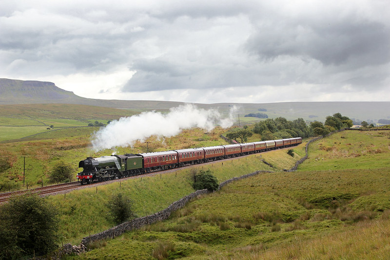 Sunshine, followed by a heavy downpour, followed by a bit of welcome brightness as A3 Pacific No.60103 passes Dike Green between Horton-in-Ribblesdale and Selside with the third Waverley working of 2017.  I'm quite pleased with this result, as I think full sun at this time of day in the Summer would be too harshly lit for this location.