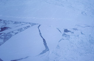Arctic pack ice in the Gulf of St Lawrence as seen from a  helicopter that we used to go out onto the ice floes. | by Derek Keats