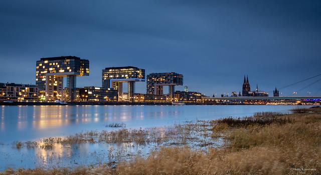 Crane Houses at dusk in Cologne