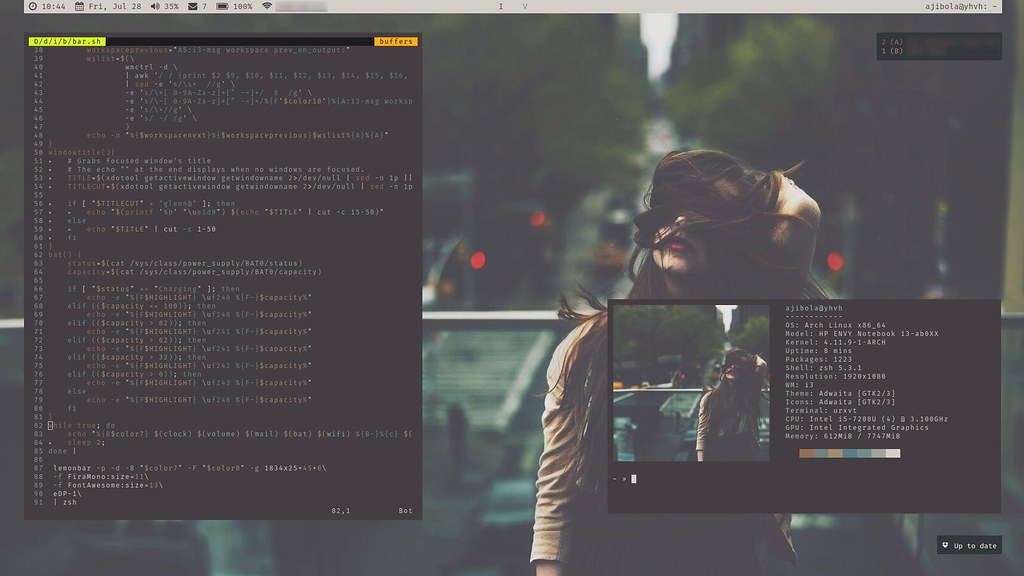 i3wm on Arch | i3-gaps running on ArchLinux with lemonbar