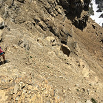 Kristen descending the south face route of Mt. Reynolds