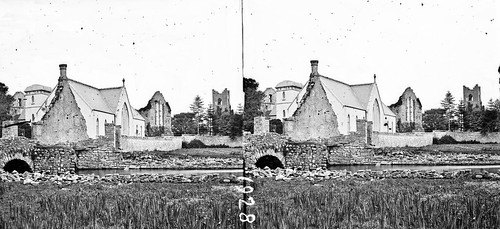 lawrencecollection stereographicnegatives jamessimonton frederickhollandmares johnfortunelawrence williammervynlawrence nationallibraryofireland church ruins bridge river walls modernbuildings locationidentified cong countymayo muttonchops abbey stmarys congabbey chapel probablecataloguecorrection stereopairsphotographcollection stereopairs