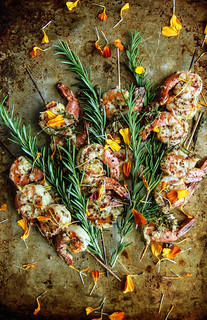 Grilled Garlic, Rosemary and Mustard Shrimp from HeatherChristo.com | by Heather Christo