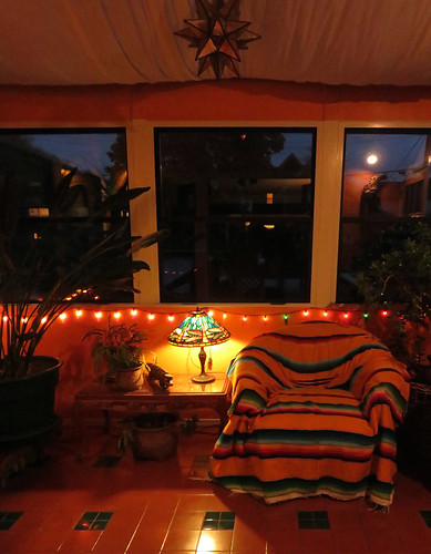 My old chair in the solarium at night
