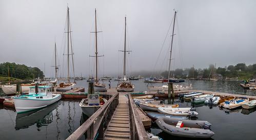harbor maine rockport fog panorama masts ships