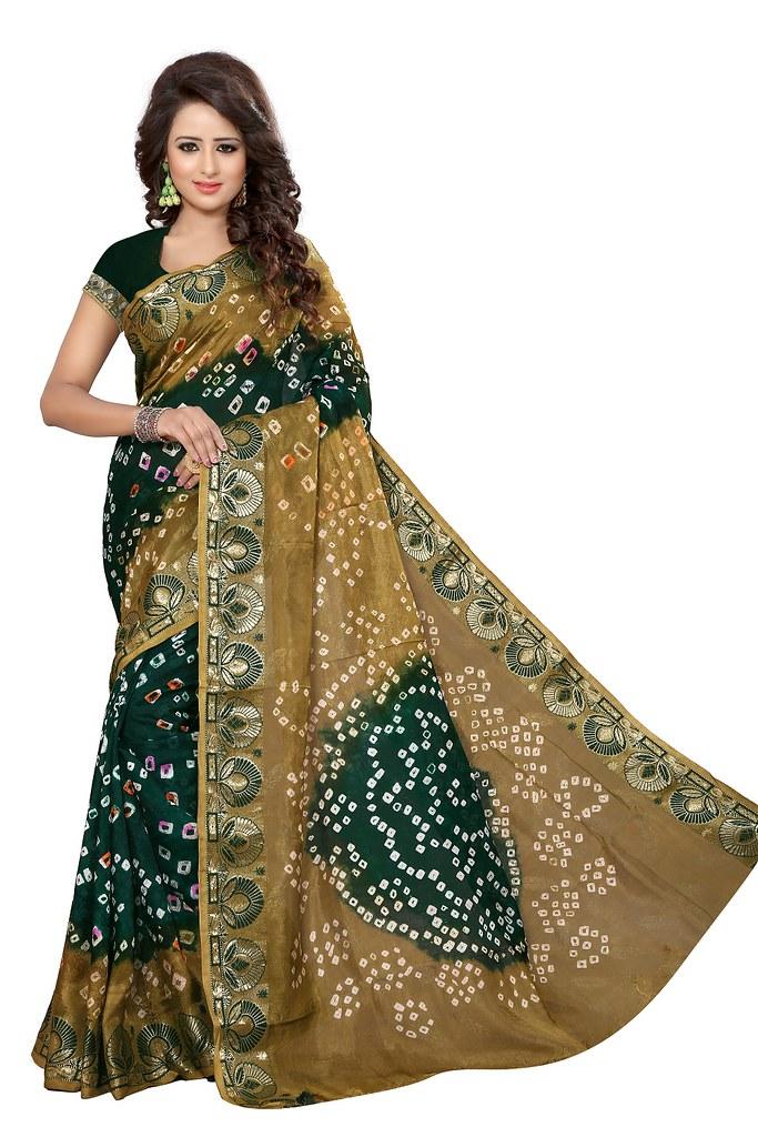 86df59e54a ... Beige and Dark Green Rajasthani Printed Cotton Silk Bandhani Saree | by  sahilkumard18