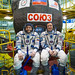 In the Integration Building at the Baikonur Cosmodrome in Kazakhstan, Expedition 51 crew members Fyodor Yurchikhin of the Russian Federal Space Agency (Roscosmos, left) and Jack Fischer of NASA (right) pose for pictures April 6, 2017 in front of their Soyuz MS-04 spacecraft as part of pre-launch training preparations. Fischer and Yurchikhin launched April 20 on the Soyuz MS-04 spacecraft for a four and a half month mission on the International Space Station. (photo/NASA/Gagarin Cosmonaut Training Center/Andrey Shelepin)