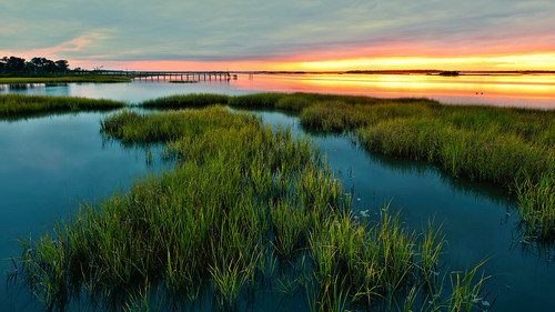 emeraldisle watsonhouse northcarolina boguesound boguebanks swansboro carteret coast marsh nikon landscape photobenedict atlantic ocean inlet sound sunset evening dusk storm clouds summer dock pier beach intracoastal waterway