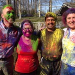 A group shot after the throwing of the colors during Holi!