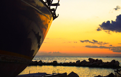 sunset sea sun mountain reflection clouds boat nikon marine rocks outdoor greece patras d3200