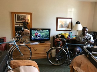 Packing up and watching the Tour with Nigel following the Million Meters of Milk 1000K.