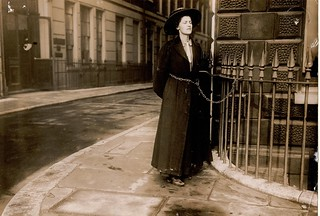 Suffragette chained to railings | by LSE Library