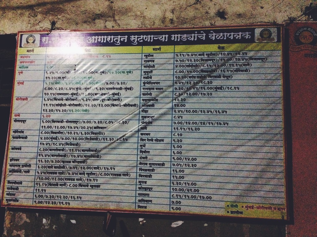 Mahad ST bus depot Timetable (MSRTC) | Gypsy Travellers | Flickr