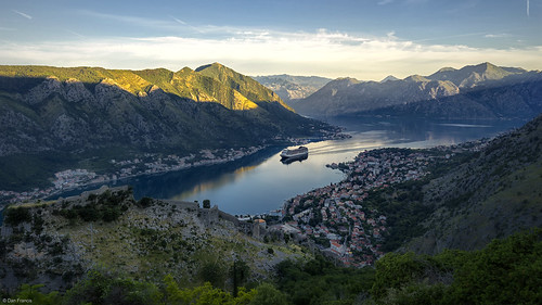 sky landscape sunrise morning kotor montenegro dalmatia europe water nature travel coast ship mountain dawn valley outdoor bay cruise citadel scenic sunray fortification sony a7r