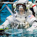 "NASA astronauts USAF Col. Tyler N. ""Nick"" Hague is lowered into a pool containing a mockup of the International Space Station at the Johnson Space Flight Center's Neutral Buoyancy Laboratory for Extravehicular Activity training in Houston, Tex., Apr. 27, 2017. (U.S. Air Force photo by J.M. Eddins Jr.)"