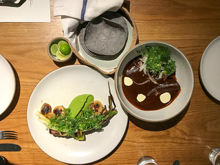 Duck Enmoladas, Red Mole ($25) Short Rib, Scallions, Cipollini, Avocado ($36) | by loustejskal.com