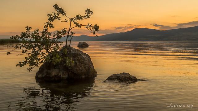 Sunset on the lake of neuchâtel (Switzerland)