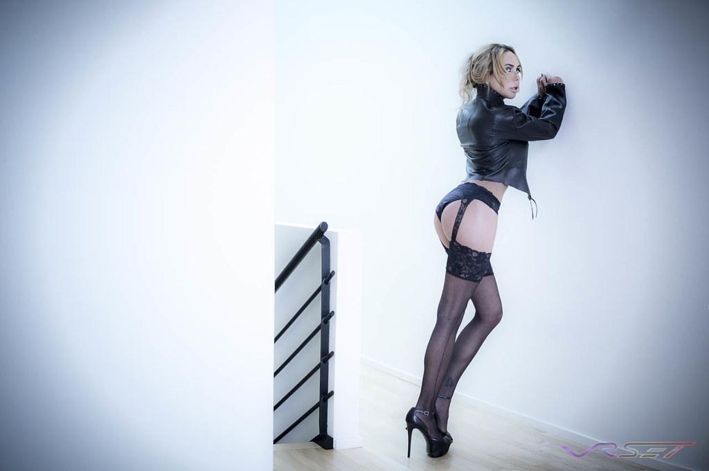 210874d477b ... Baci-Lingerie-Fashion-Black-Nylon-Stockings-Leather-Jacket-