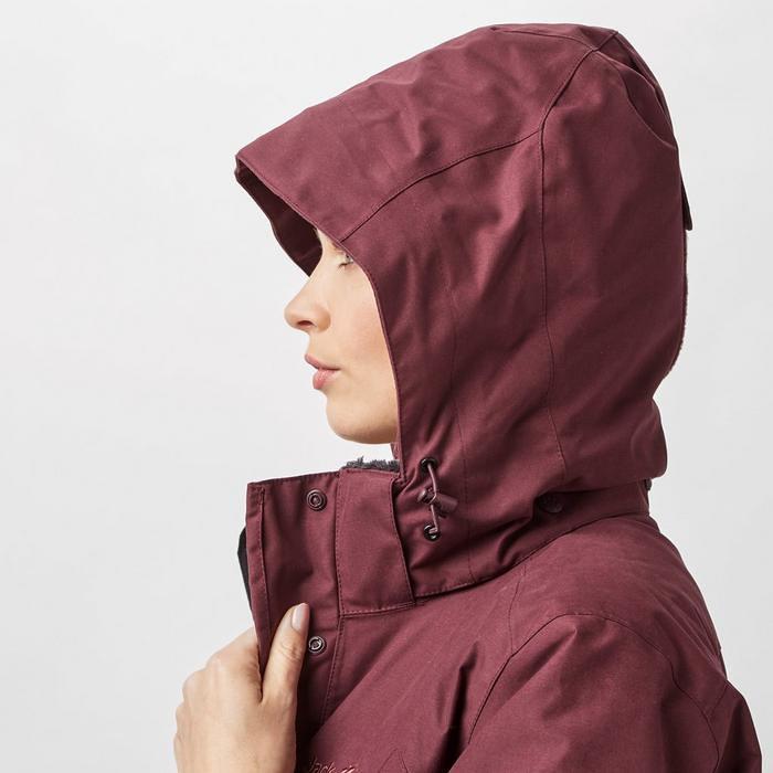 jack wolfskin women s 5th avenue coat red hood. Black Bedroom Furniture Sets. Home Design Ideas