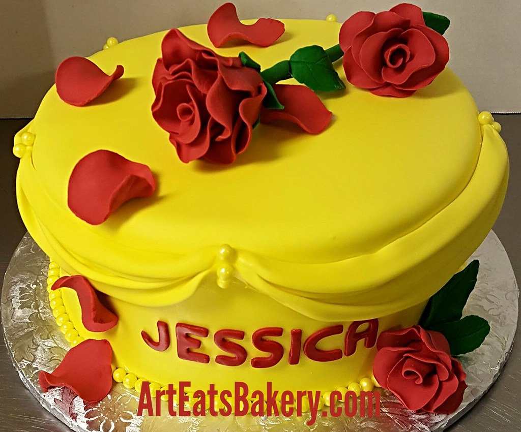 Groovy Yellow Fondant Beauty And The Beast Ladies Custom Birthday Flickr Funny Birthday Cards Online Kookostrdamsfinfo
