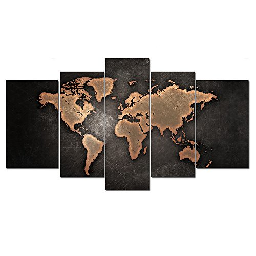 5 Panneaux Carte Du Monde Marron Abstrait Peinture à L Hui
