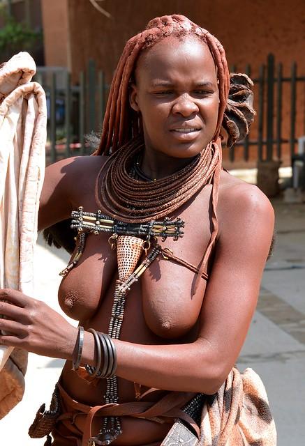 Himba girl in Opuwo Town, Kaokoland, Namibia.