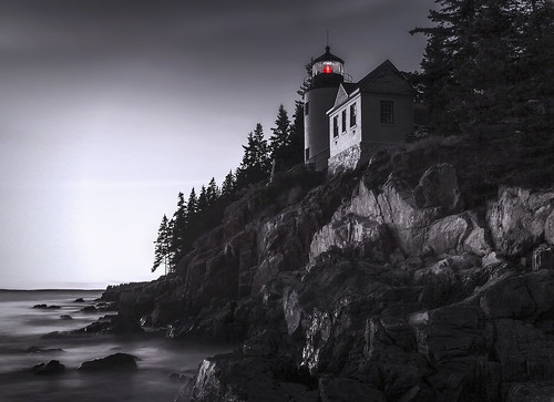 bass harbor lighthouse maine atlantic ocean evening mono bw sea light dusk mystery mysterious