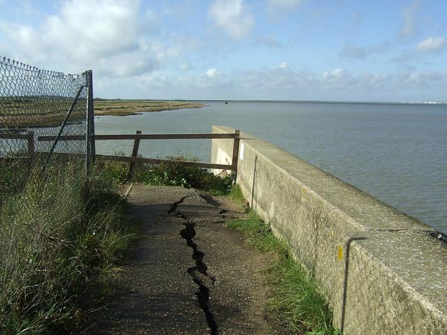 Broken promenade at Allhallows-on-Sea