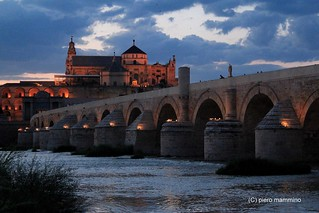 Cordoba _ cloudy night above the Roman Bridge and the Mezquita | by piero.mammino