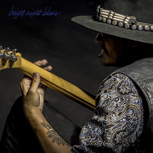 night blues fender guitar neck man hat tat street music ventura ca calligraphy handheld minimal square urban 6564