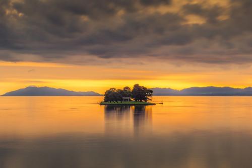 japan sunset sky light cloud weather landscape orange contrast colour bright lake island water nature summer