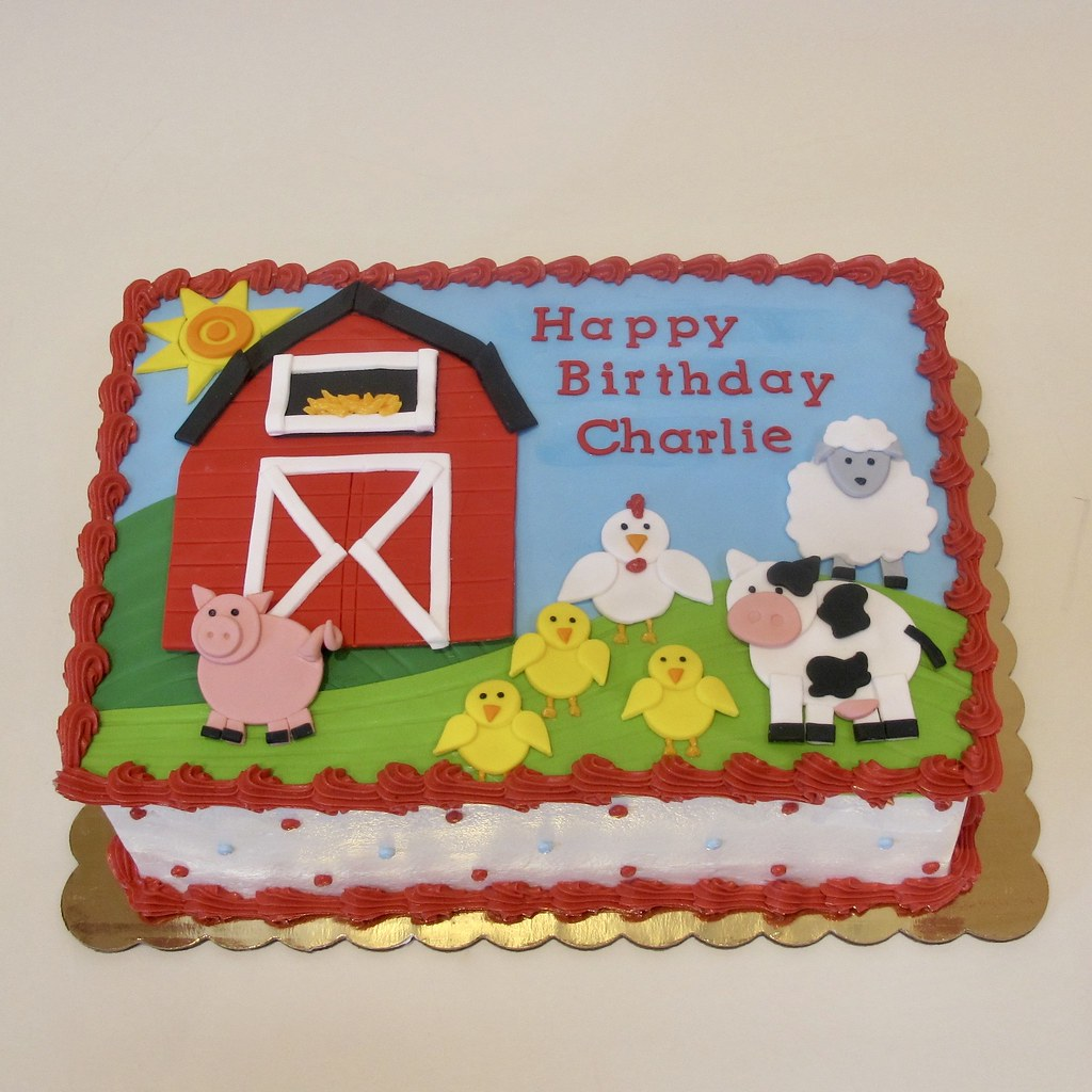 Awesome Down On The Farm Birthday Cake 300421 Creative Cakes Tinley Birthday Cards Printable Opercafe Filternl