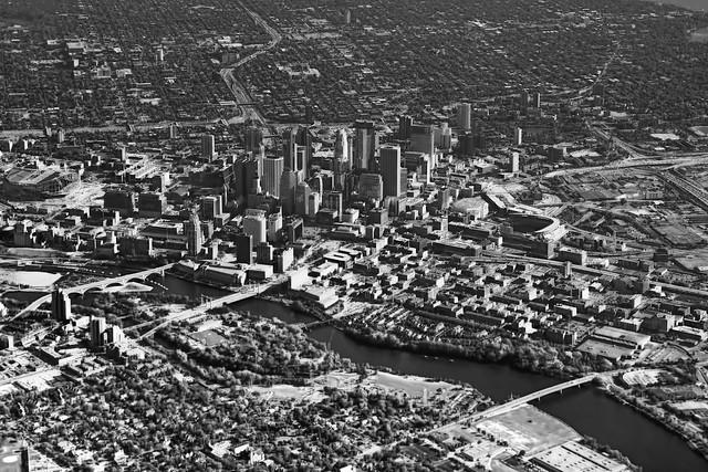 The skyline of Minneapolis, Minnesota, USA