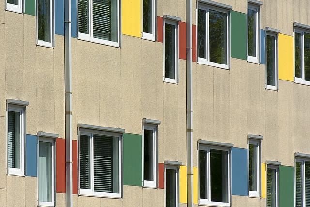 Facade with blue, green, yellow and red