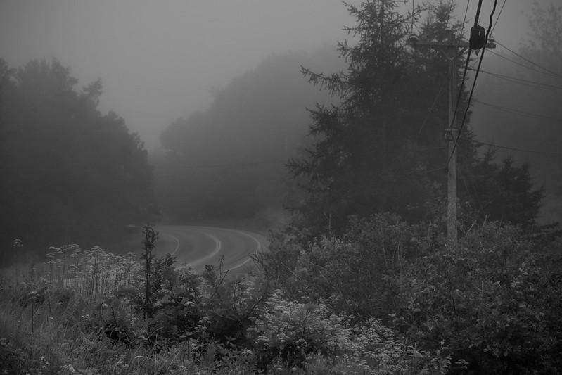 Route 131 South, fog, dusk, Saint George, Maine, Nikon D3300, mamiya sekkor 80mm f-2.8, 7.16.17