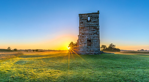knowlton henge church relic grass sunrise tree landscape dorset