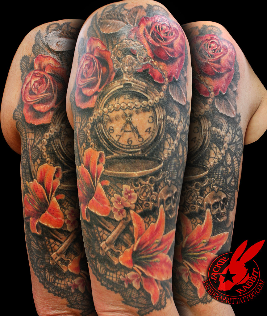 6f6817226 ... Lace Watch Key Skull Rose lily Flower Realistic 3D Sleeve Tattoo by  Jackie Rabbit   by