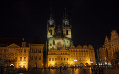 Church of Mother of God before Týn at night