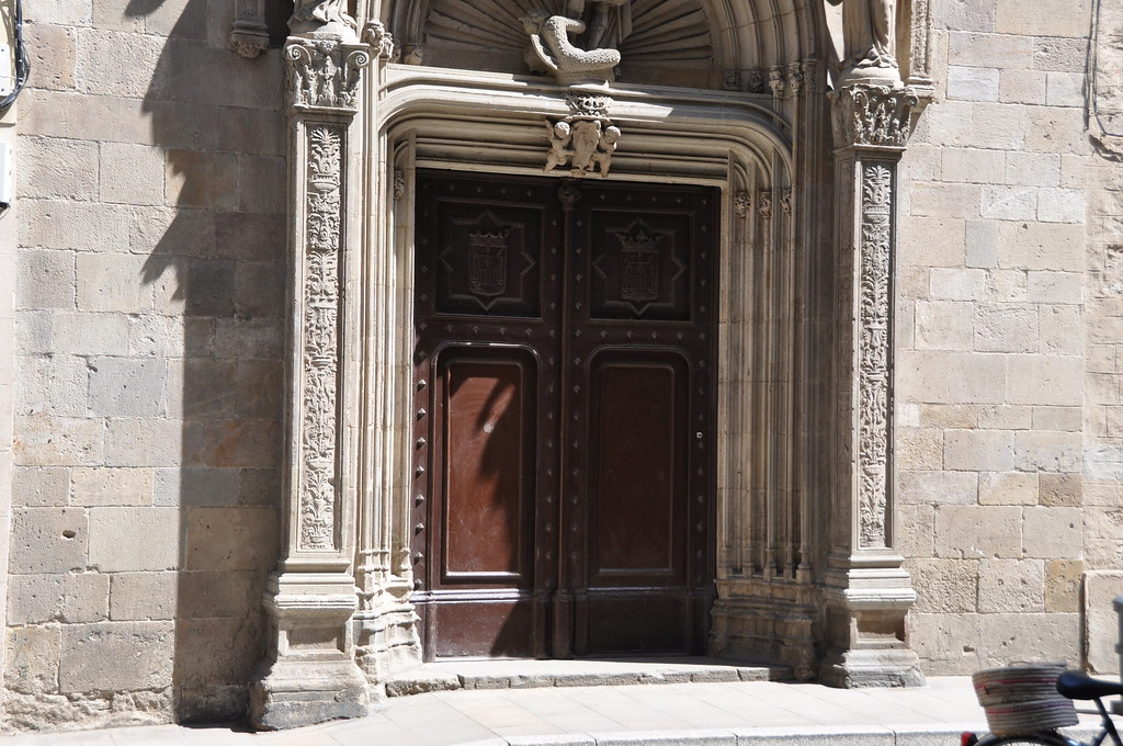 Barcelona (Ample street).  Former portal of Sant Miquel church, reconstructed in 1872 next to La Mercè. 1516. René Ducloux, sculptor. Gabriel Pellicer and Pau Mateu, builders.