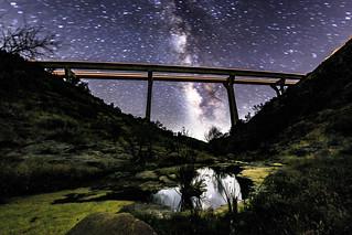 Artsy Overexposed Pine Valley Creek Bridge and the MIlky W ...