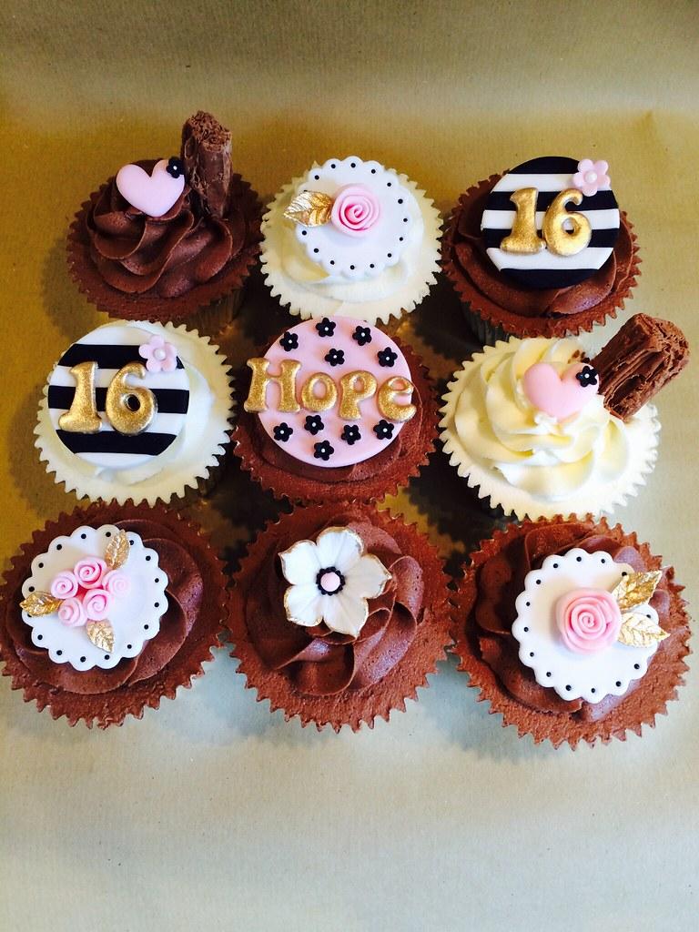 Girly Chic 16th Birthday Cupcakes